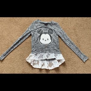 Girls Mickey sparkle sweater, lace bottom, size 6